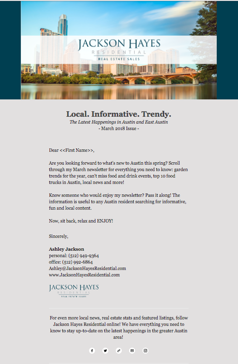 custom email newsletters real estate agent operations realtor marketing hyper local 1
