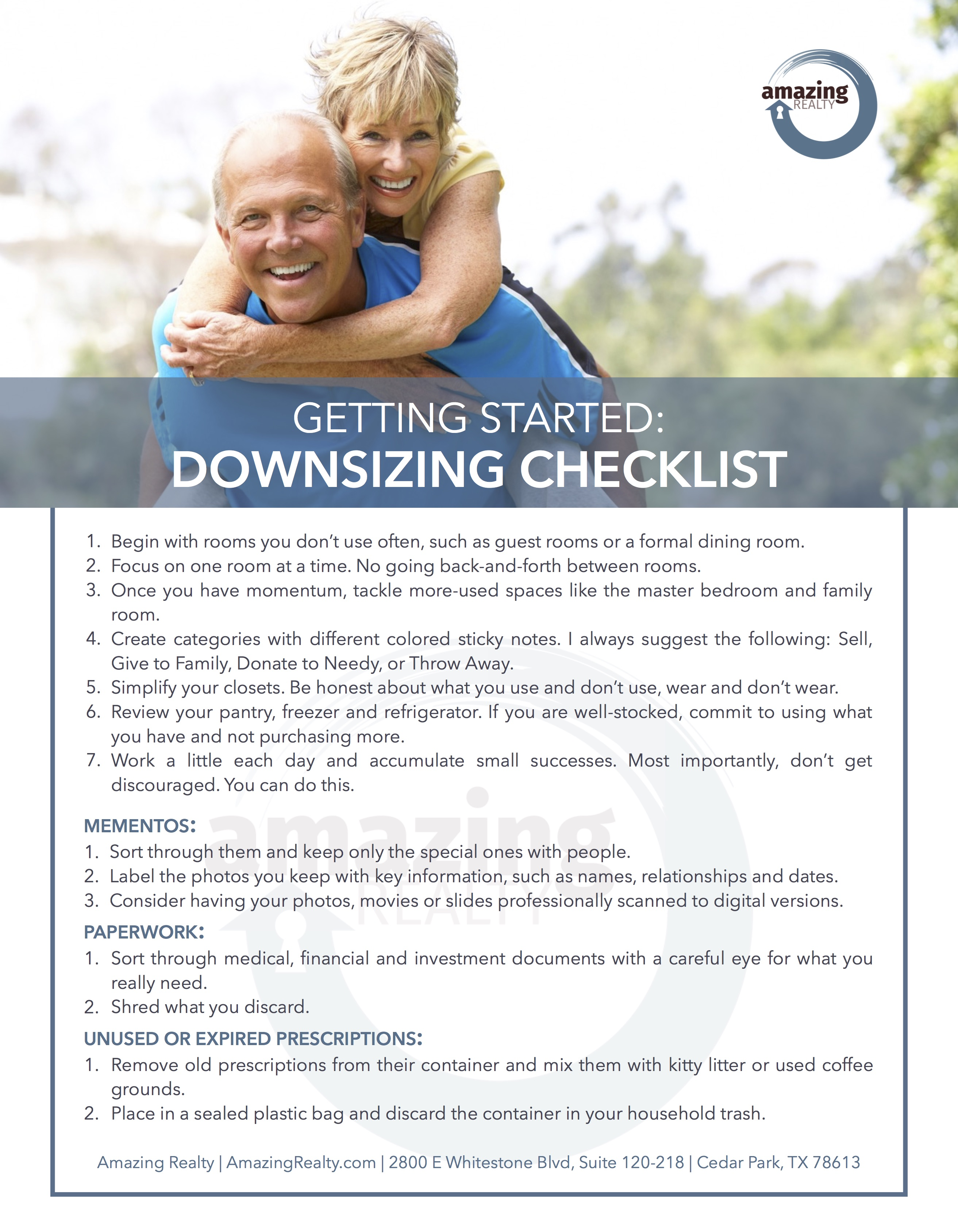 Downsizing Checklist - Amazing Realty by Agent Operations