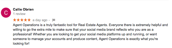 5-Star Google Review for Agent Operations from Callie O'Brien Drakulich Luxury Properties, Reno, NV