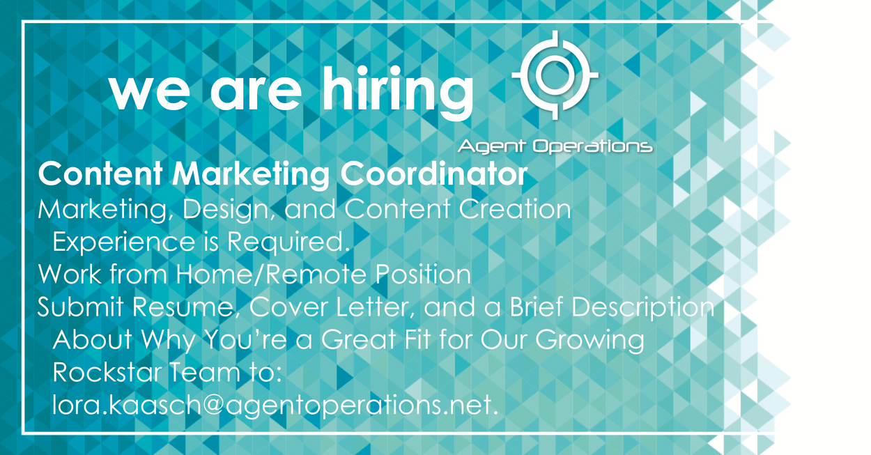 Content Marketing Coordinator Position Agent Operations Real Estate Marketing Firm Agency is Hiring Round Rock TX