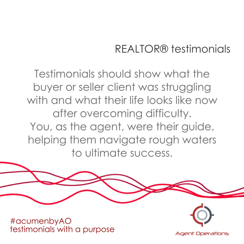 REALTOR Testimonials real estate agent operations marketing tips acumen by ao