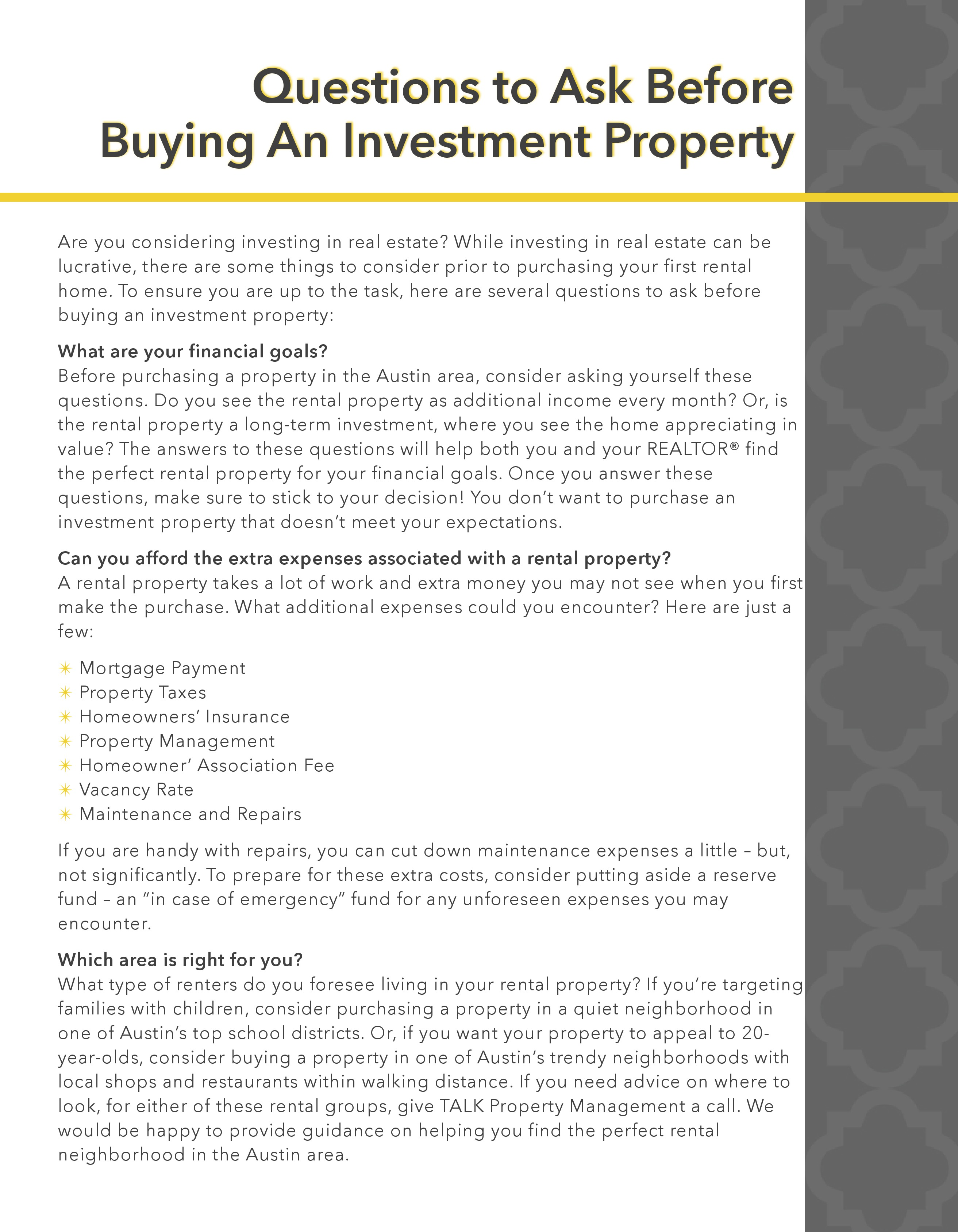 Guide to Real Estate Investing Property Management Package Tenant Package for Real Estate and REALTORS Agent Operations real estate marketing