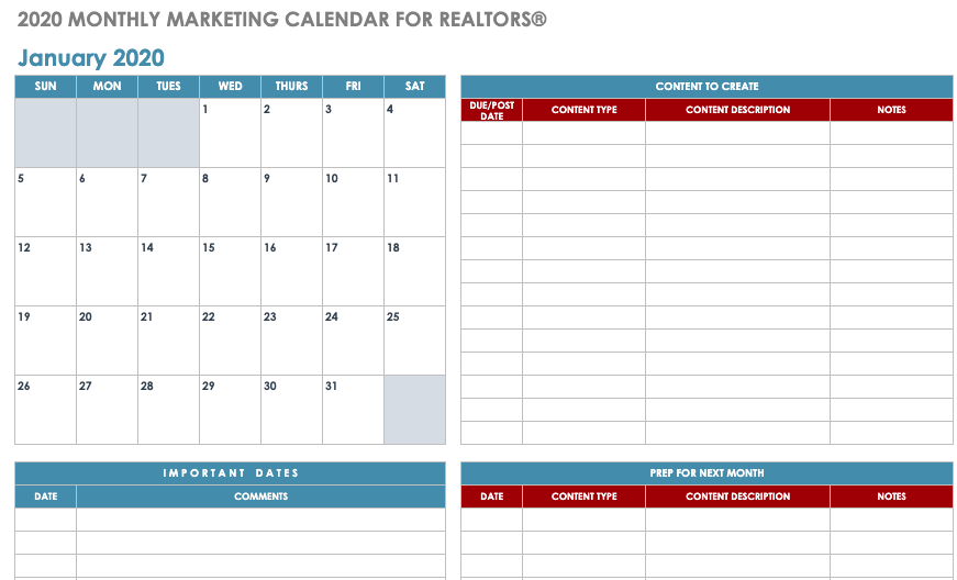 2020 Social Media Marketing Content Calendar for REALTORS, Team Leaders and Real Estate Brokerages - Agent Operations